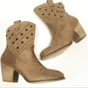 New Ankle Boots Taupe Color Star Design